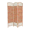 Oriental Furniture Recycled Magazine 3-Panel Multi Wood and Paper Folding Indoor Privacy Screen