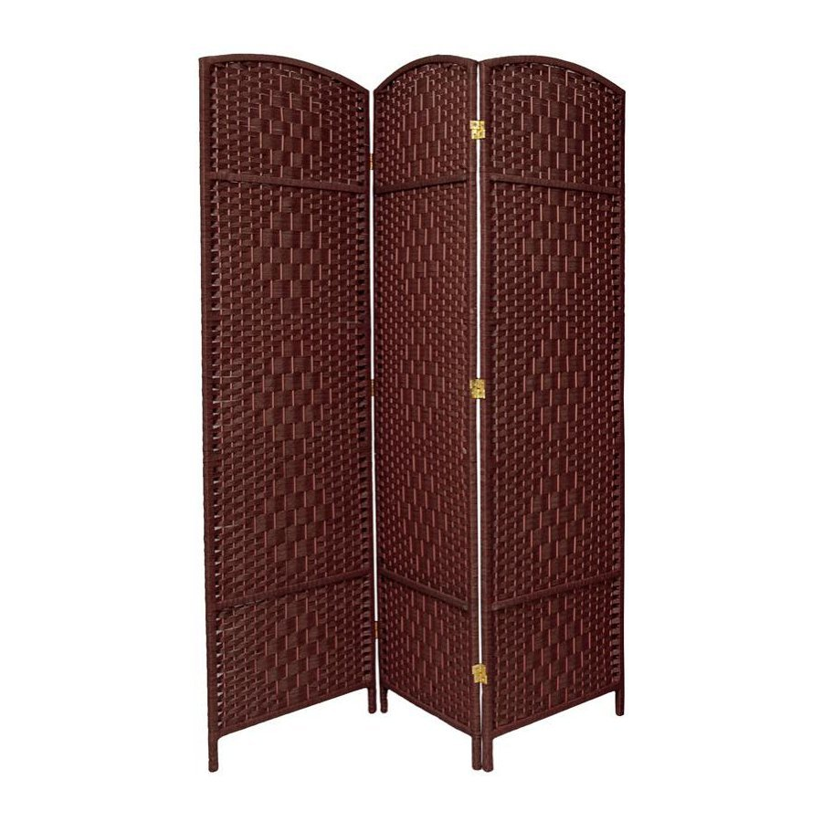 Shop oriental furniture room dividers 3 panel dark red folding indoor privacy screen at - Collapsible room divider ...