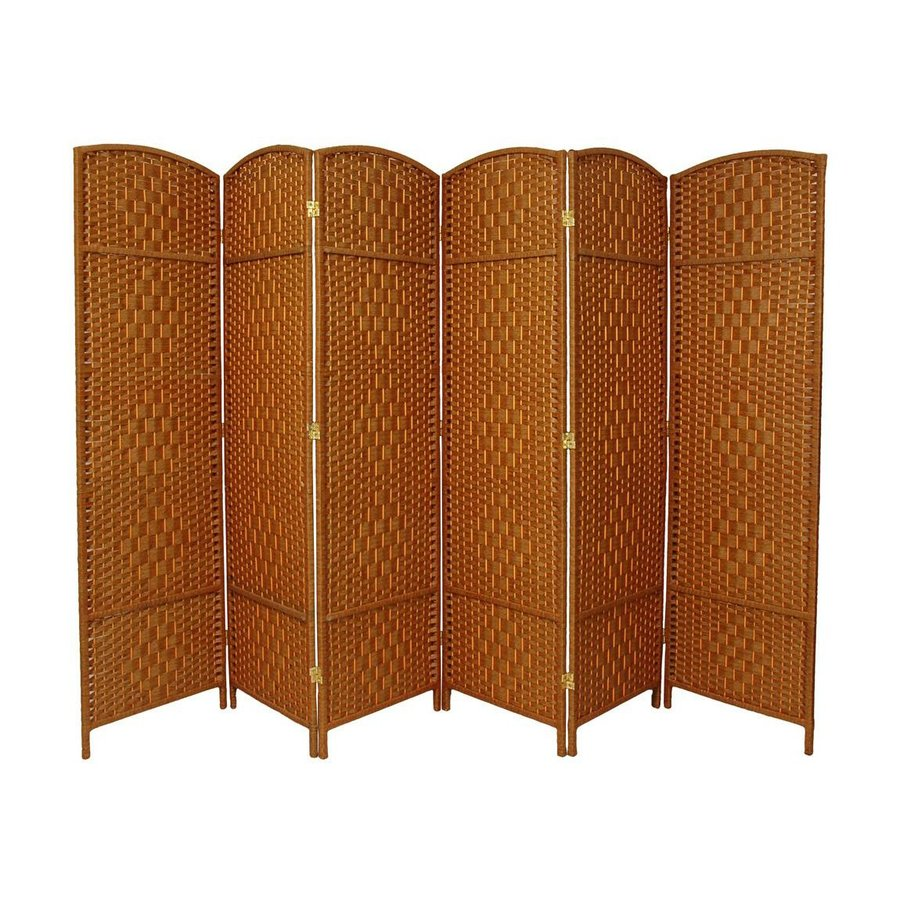 Shop oriental furniture diamond weave 6 panel dark beige for Retractable privacy screen