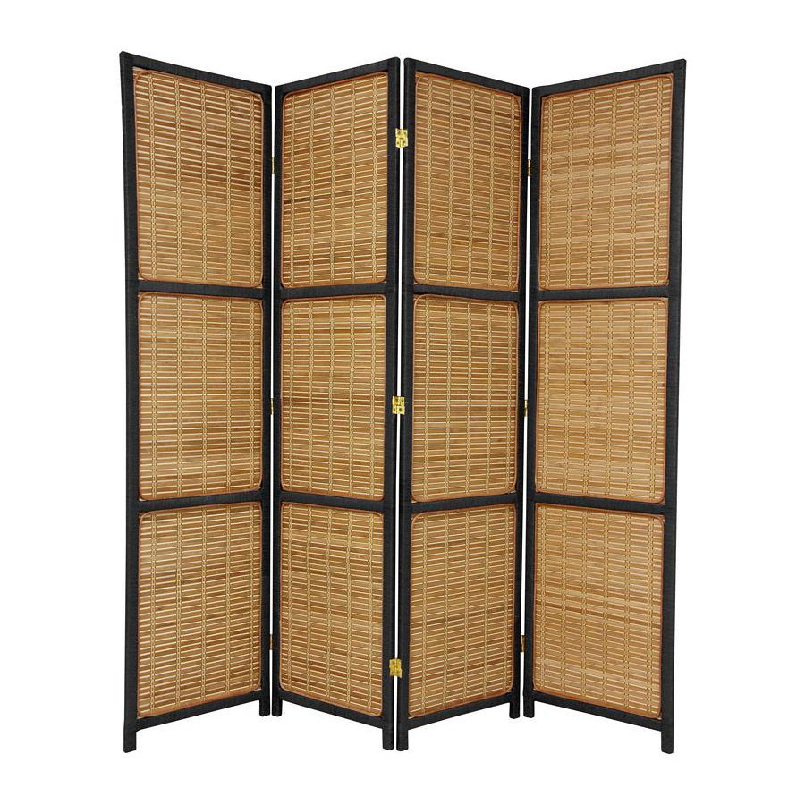 Shop oriental furniture room dividers 4 panel black folding indoor privacy screen at - Collapsible room divider ...