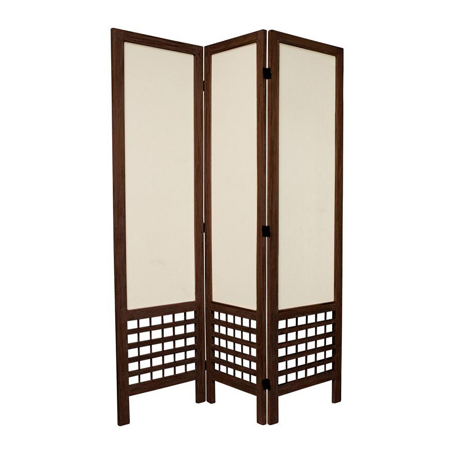 Shop oriental furniture room dividers 3 panel burnt brown folding indoor privacy screen at - Collapsible room divider ...