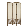 Oriental Furniture Open Latice 3-Panel Burnt Gray Wood and Fabric Folding Indoor Privacy Screen