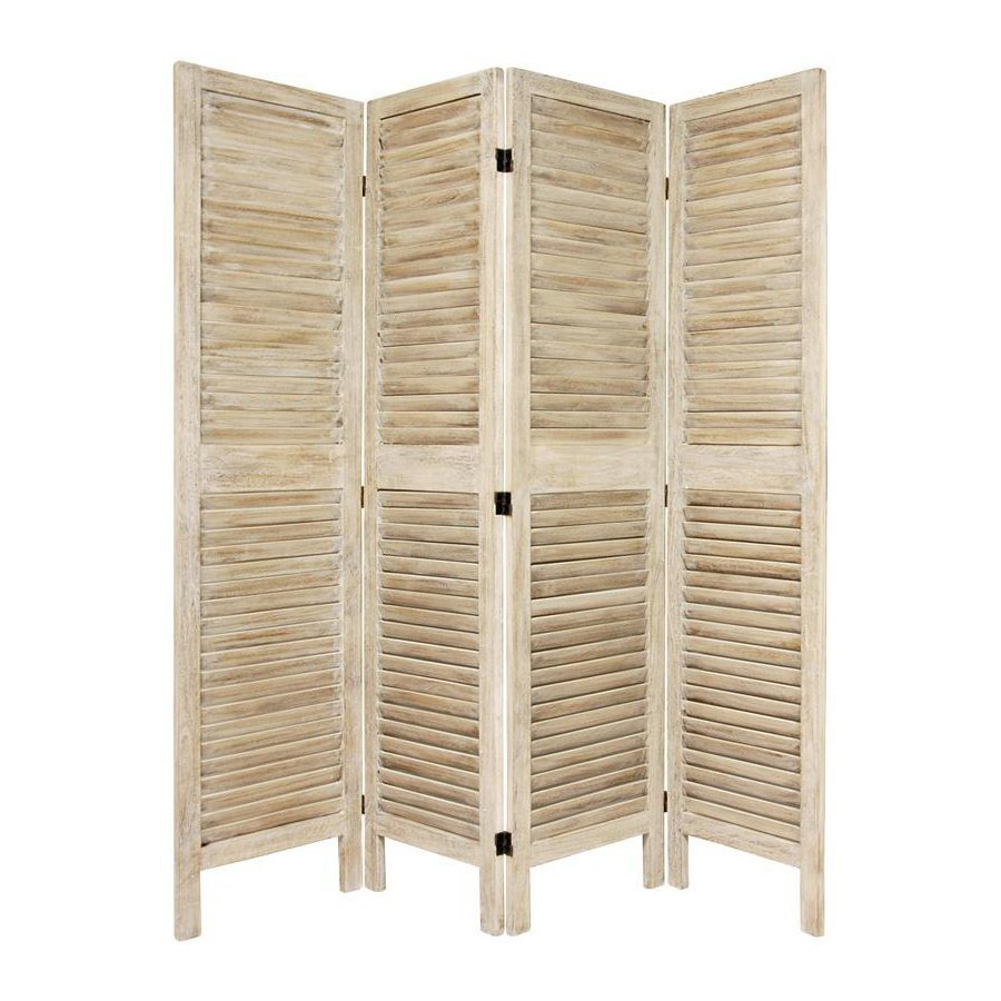 Shop oriental furniture room dividers 4 panel burnt white for What s a privacy screen