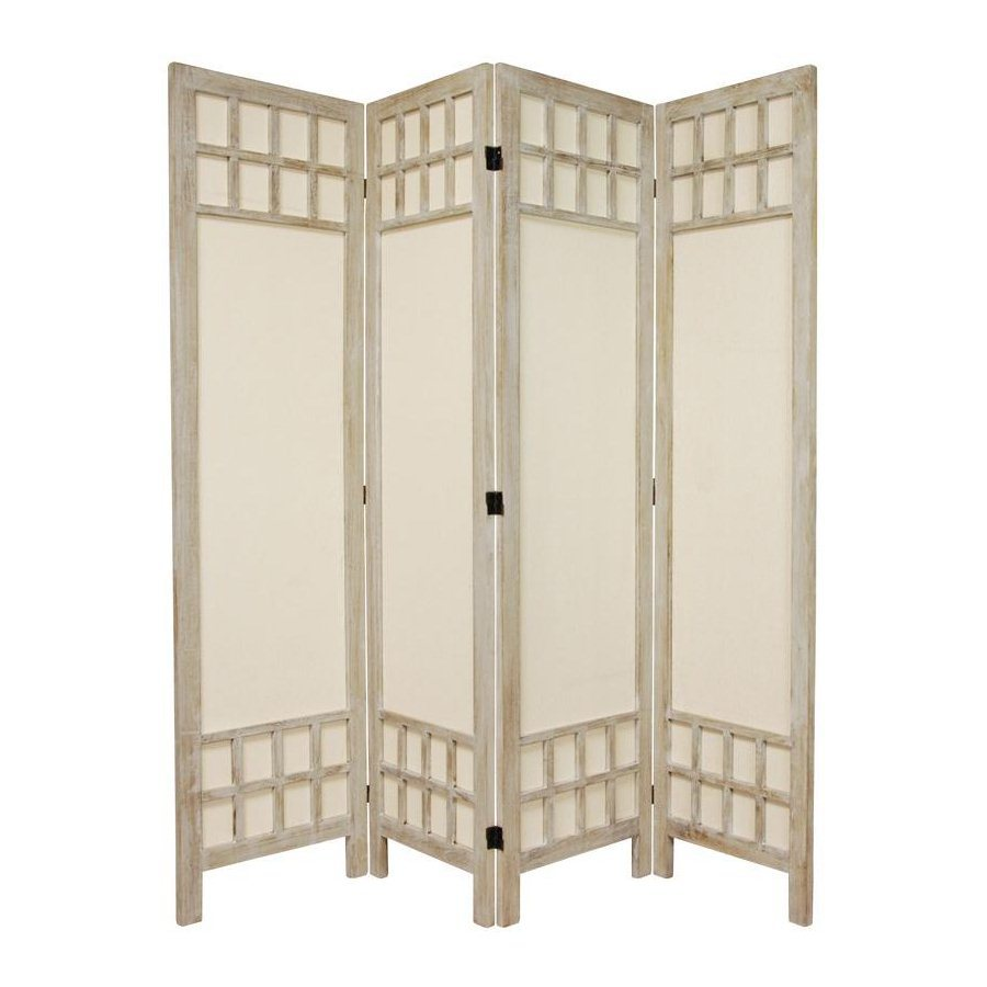 Shop oriental furniture room dividers 4 panel burnt white for Retractable privacy screen