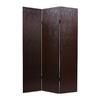 Oriental Furniture Snakeskin 3-Panel Brown Wood and Fabric Folding Indoor Privacy Screen