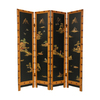 Oriental Furniture Ching 4-Panel Black Wood Folding Indoor Privacy Screen