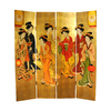 Oriental Furniture Geisha 4-Panel Gold Wood Folding Indoor Privacy Screen