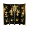 Oriental Furniture 4-Panel Black Folding Indoor Privacy Screen