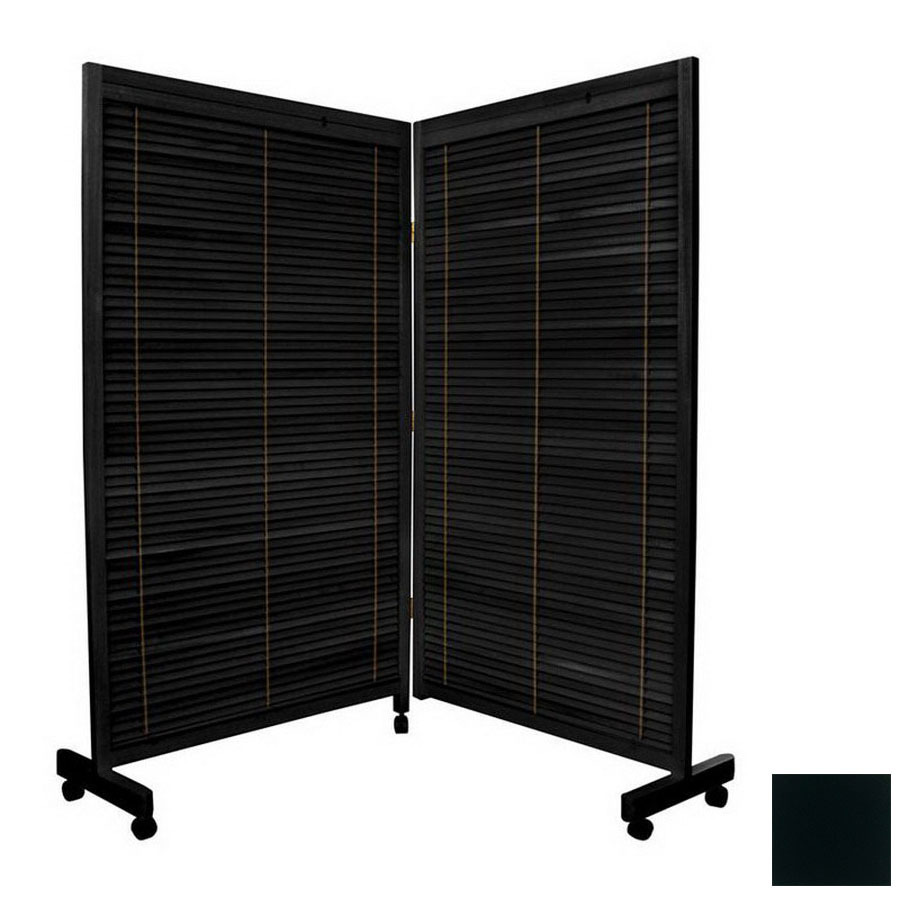 Shop oriental furniture room dividers 2 panel black for Retractable privacy screen
