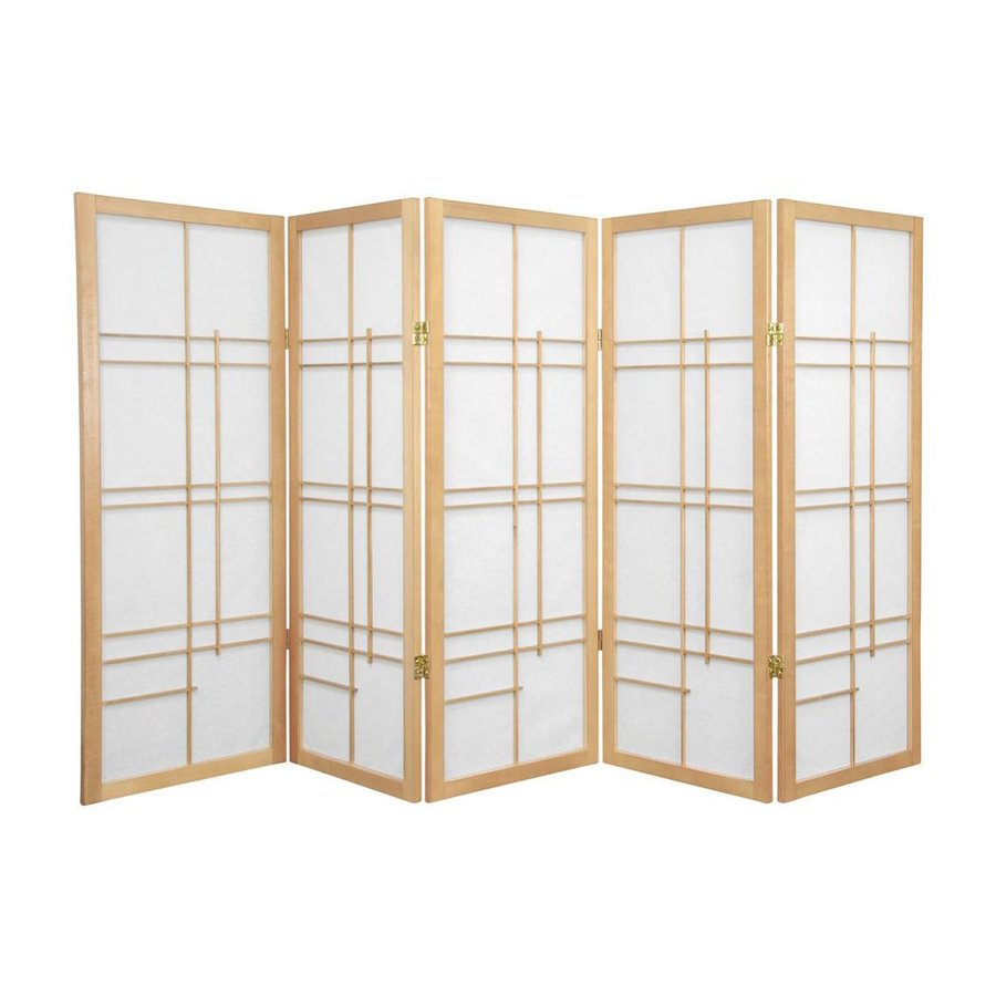 Shop oriental furniture eudes 5 panel natural folding for Retractable privacy screen