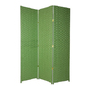 Oriental Furniture 3-Panel Light Green Wood and Rattan Folding Indoor Privacy Screen