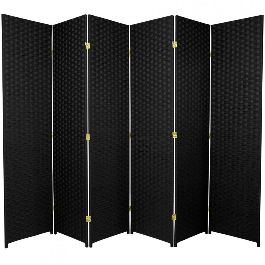 Shop oriental furniture 6 panel black folding indoor for Retractable privacy screen