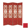Oriental Furniture 4-Panel Red Folding Indoor Privacy Screen