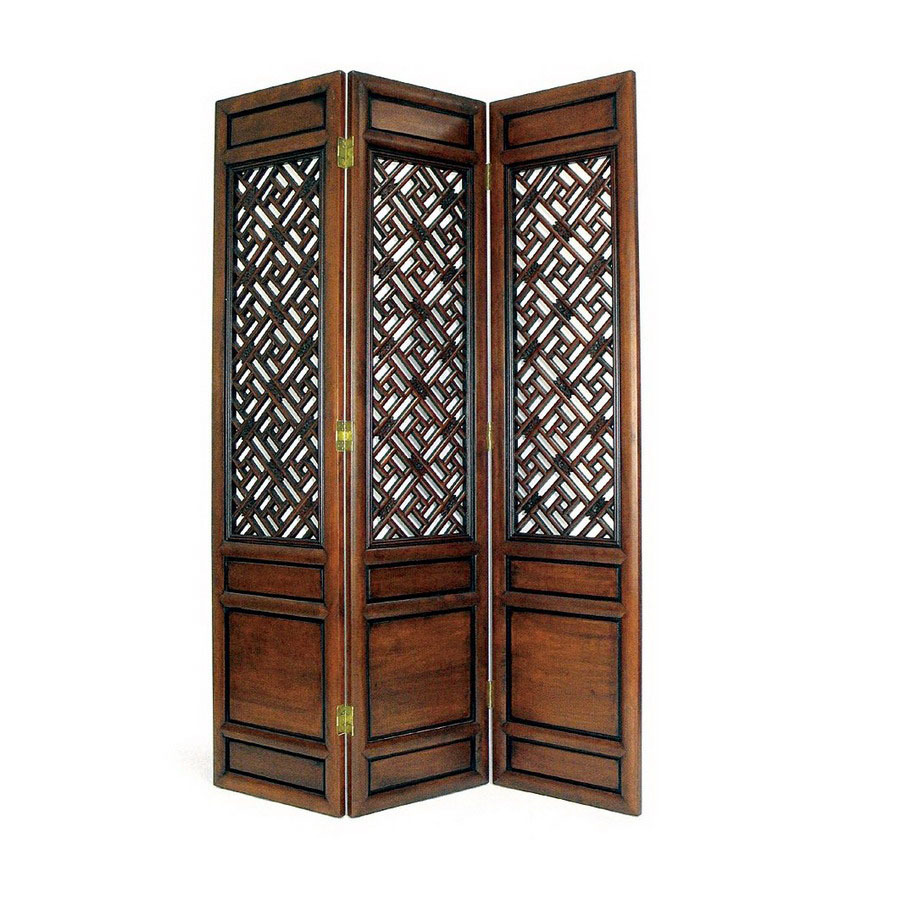 Shop oriental furniture 3 panel dark wood folding indoor for Wood privacy screen panels