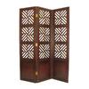 Oriental Furniture Lattice 3-Panel Dark Wood Wood Folding Indoor Privacy Screen