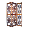 Oriental Furniture Red Chamber 3-Panel Brown Wood Folding Indoor Privacy Screen