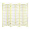 Oriental Furniture Window Pane 6-Panel Ivory Wood and Paper Folding Indoor Privacy Screen