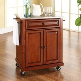 Crosley Furniture 28.25-in L x 18-in W x 36-in H Classic Cherry Kitchen Island with Casters