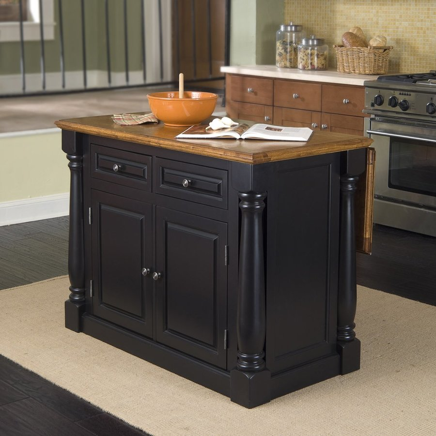 Shop Home Styles 48 In L X 25 In W X 36 In H Black Kitchen Island At