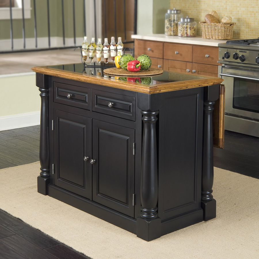 Shop Home Styles 48 In L X 25 In W X 36 In H Black Kitchen Island With Black Granite Top At
