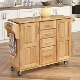 Home Styles 52.5-in L x 18-in W x 36-in H Natural Kitchen Island with Casters