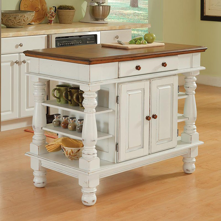 24 In W X 36 In H Distressed Antique White Kitchen Island At