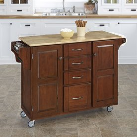 35 75 in h medium cherry kitchen island with casters at lowes com