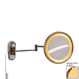Hardwired Lighted Vanity Mirror : Shop Nameeks Windisch Gold Brass 5x Magnifying Hardwired Wall-Mounted Vanity Mirror Light ...