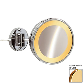 Hardwired Lighted Vanity Mirror : Shop Nameeks Windisch Gold Brass 3x Magnifying Hardwired Wall-Mounted Vanity Mirror with Light ...