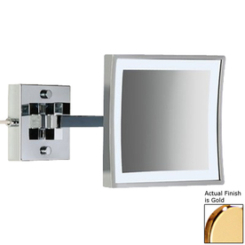 Hardwired Lighted Vanity Mirror : Shop Nameeks Windisch Gold Brass 3x Magnifying Extendable Wall-Mounted Rectangular Vanity Mirror ...