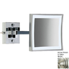 Nameeks Windisch Satin Nickel Brass 3x Magnifying Extendable Wall-Mounted Rectangular Vanity Mirror with Hardwired Light Included