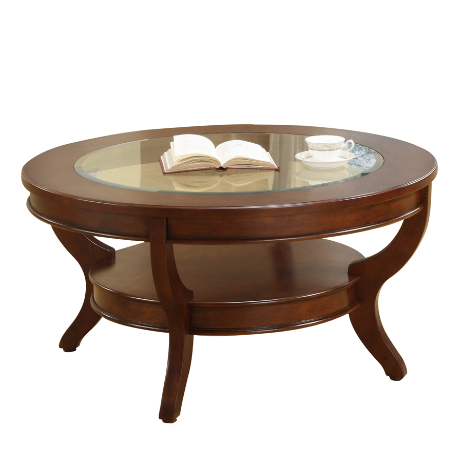 Shop homelegance avalon low sheen cherry maple round coffee table at Coffee table cherry
