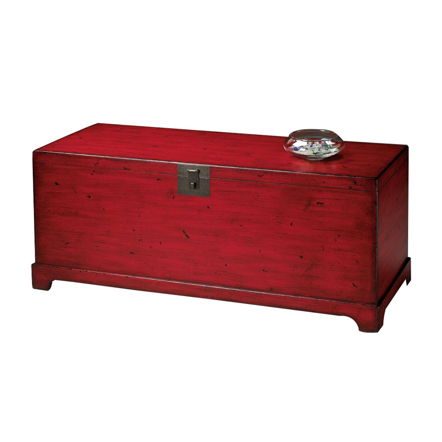 Butler Specialty Distressed Red Rectangular Coffee Table At