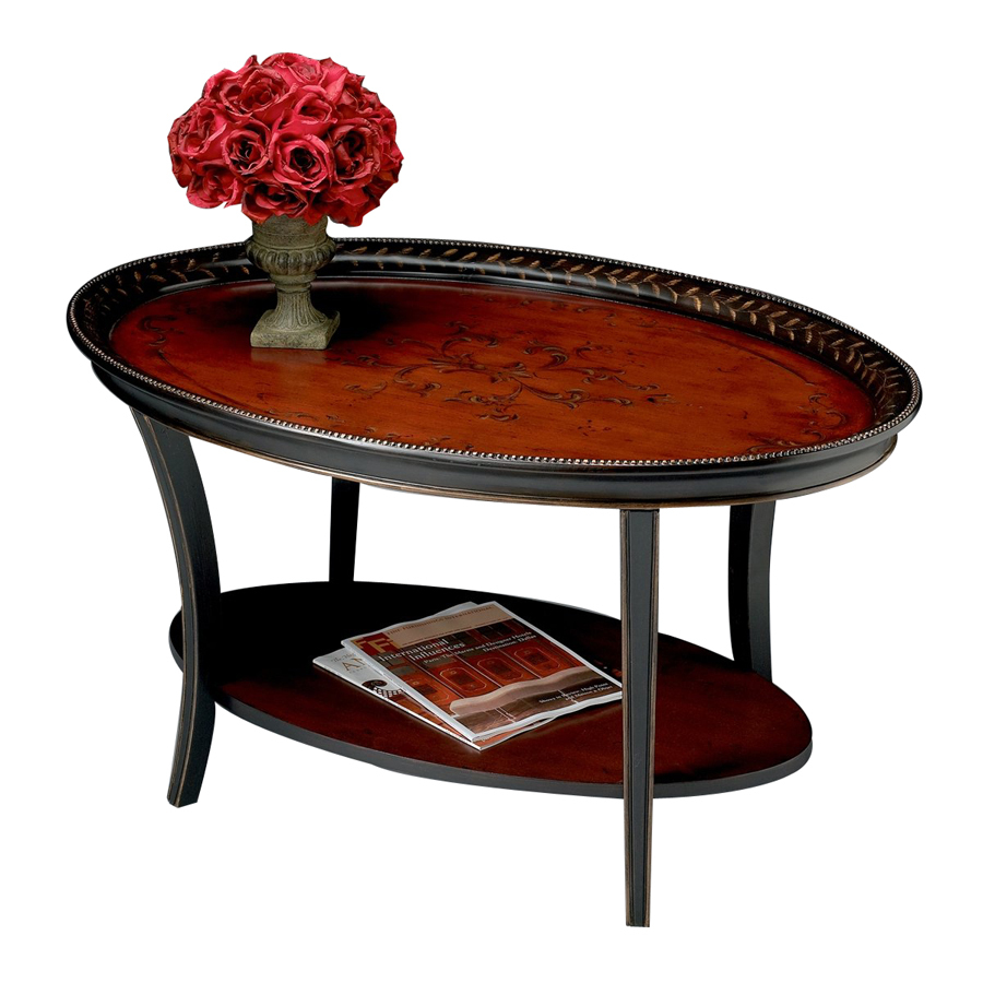 Shop Butler Specialty Artists Originals Traditional Red Black Oval Coffee Table At