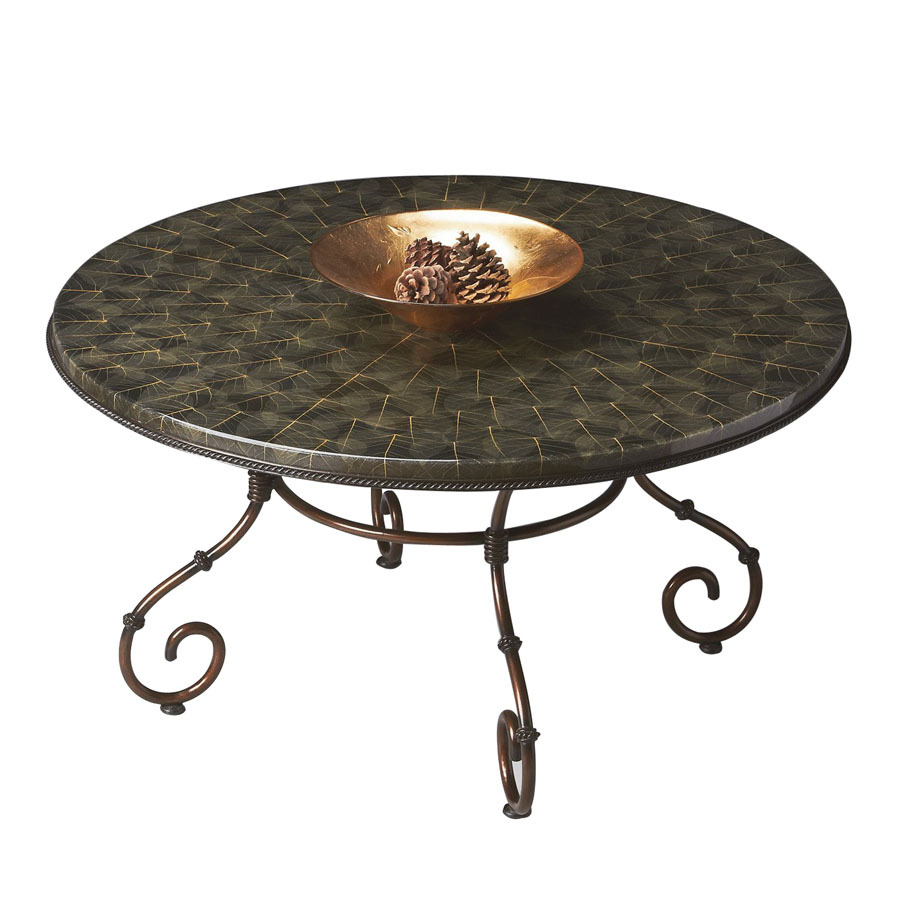 Bronze Metal Round Coffee Table