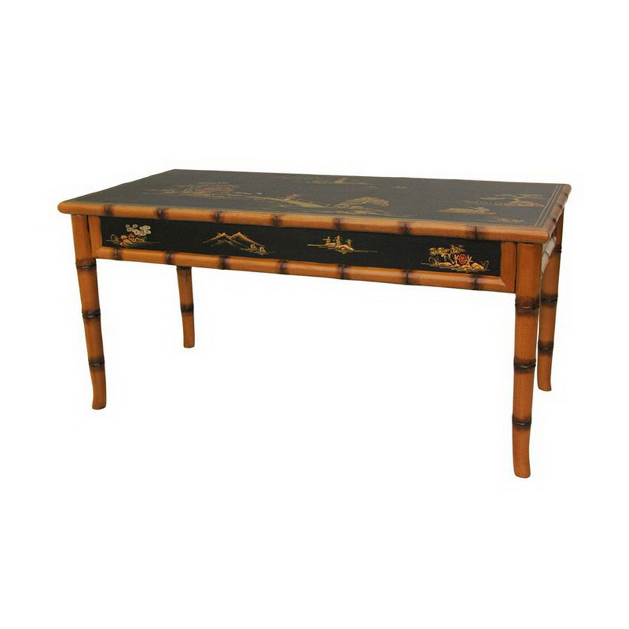 Shop Oriental Furniture Black Lacquer Rectangular Coffee Table At