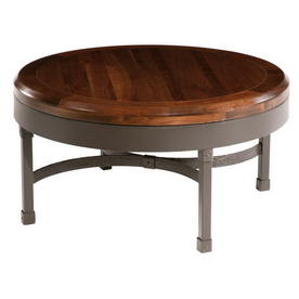 County Ironworks Cedarvale Natural Black Metal Round Coffee Table