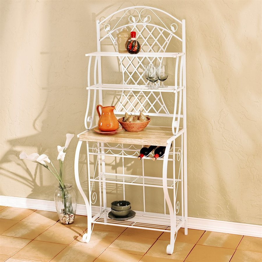 Shop Boston Loft Furnishings Darley White Rectangular Bakers Rack At Lowes.com
