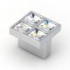 Topex Hardware Swarovski Bright Chrome Square Cabinet Knob