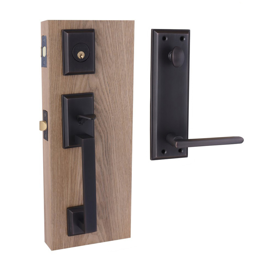 Shop Double Hill Brass Black Dual Lock Keyed Entry Door Handleset At