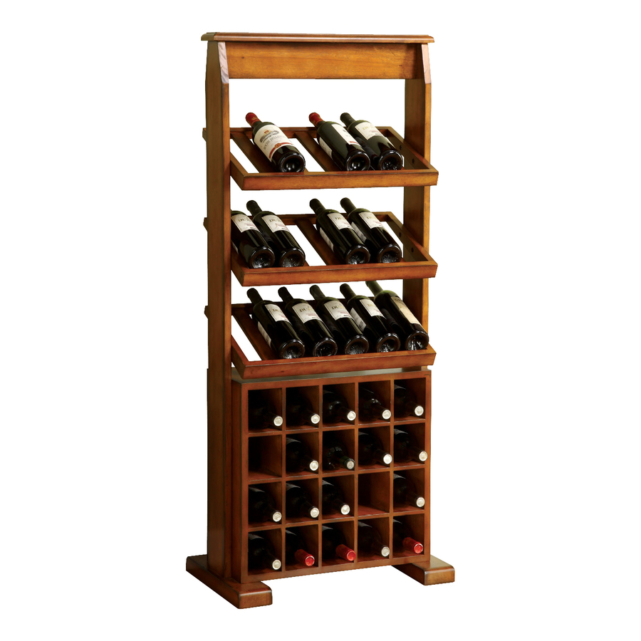 Shop furniture of america guarda 38 bottle antique oak for Floor wine rack