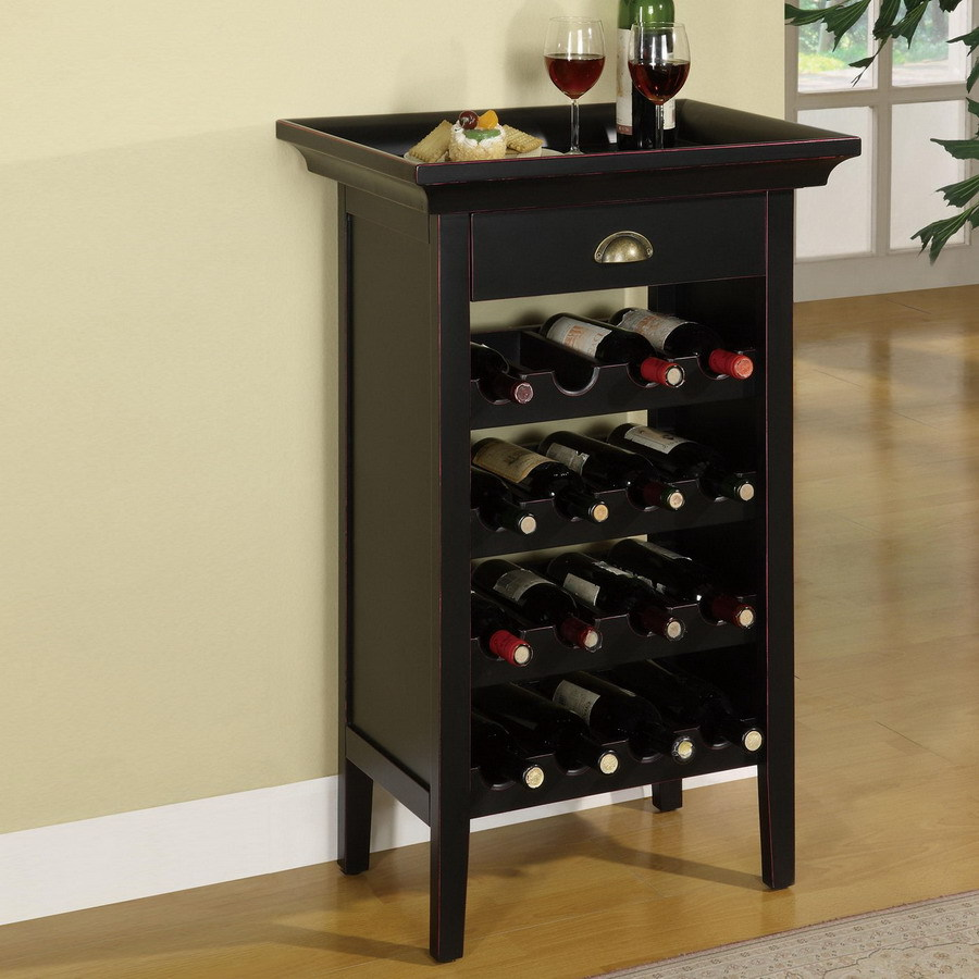 Shop powell 16 bottle black freestanding floor wine rack for Floor wine rack