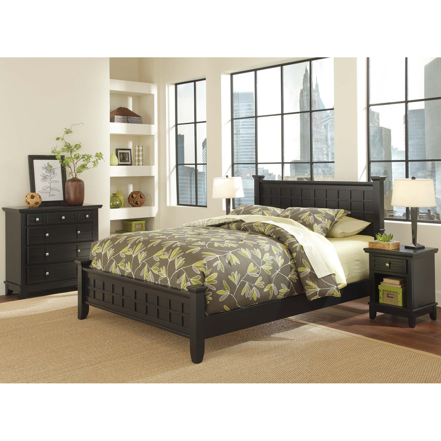Shop home styles arts and crafts black queen bedroom set for Looking bedroom furniture