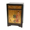 Oriental Furniture Lacquer Gold Leaf Elm Rectangular End Table