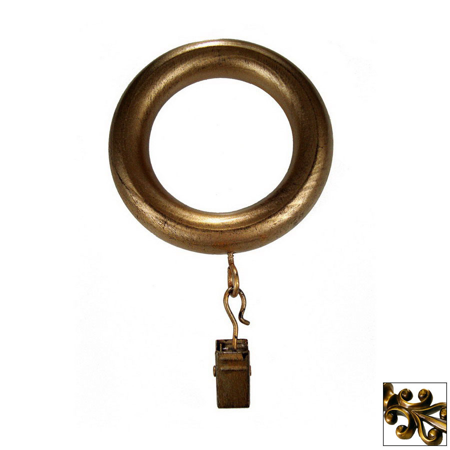 Shop Bcl Drapery 7 Pack Antique Gold Wood Curtain Rod Clip Rings At