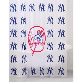 Shop belle view vinyl new york yankees patterned shower for Yankees bathroom decor