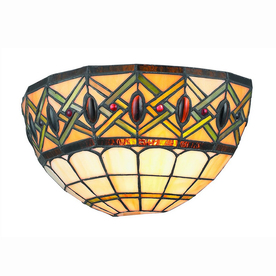 Lowes Tiffany Wall Sconces : Shop Gen-Lite 12-in W Comfort 1-Light White Tiffany Style Pocket Wall Sconce at Lowes.com