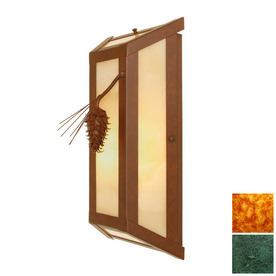 Interior Wall Sconce Lowes : Shop Steel Partners 8-in W Ponderosa Pine 1-Light Verdi Gris (Interior) Pocket Wall Sconce at ...