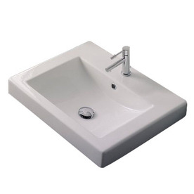 ... Scarabeo Square White Drop-In Rectangular Bathroom Sink with Overflow