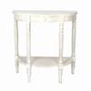 Wayborn Furniture Caned Demi Whitewash Basswood Half-Round Console and Sofa Table